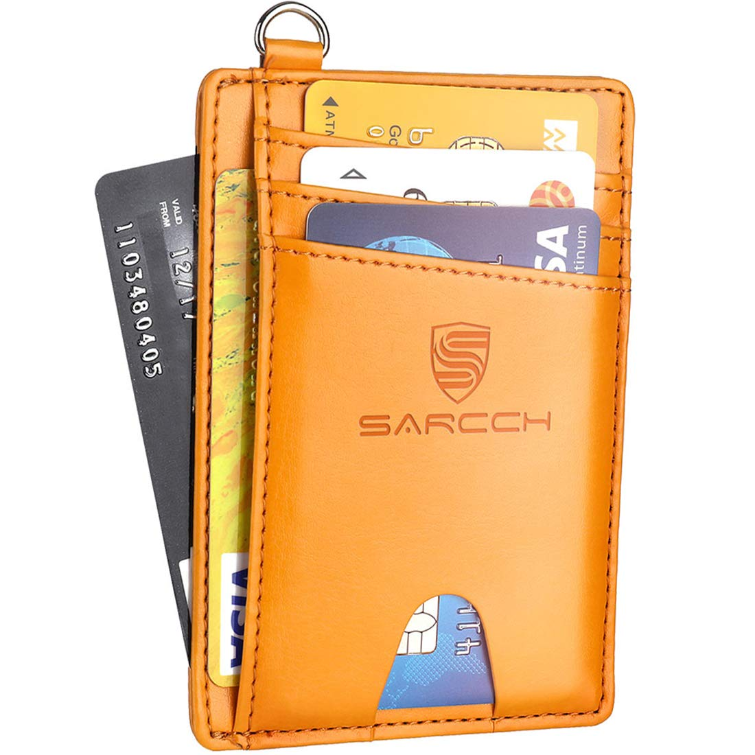 SARCCH Slim Minimalist Front Pocket RFID Blocking Wallets Credit Card Holder with Disassembly D-Shackle for Men Women