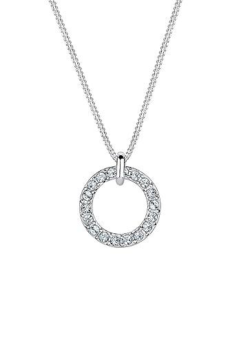 9d08ef049 Elli Ladies 925 Silver Karma Swarovski Crystals Diamond Cut Circle Pendant  Necklace of Length 45cm 0110762414_45