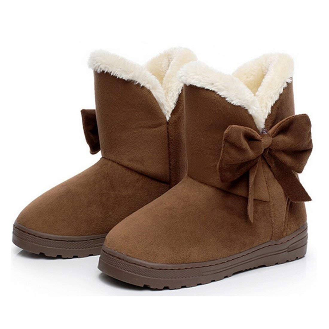HUAIX HUAIX HUAIX Home Damen Winterstiefel Flats Slip Stiefel Klassische Stiefeletten Elegante Bow Decration Winter Pelzstiefel (Farbe   Coffee, Größe   EU 37-38) d30bf5