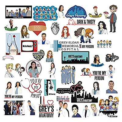 AnvFlik TV Greys Anatomy Stickers,Funny Waterproof Vinyl Decal Stickers for Kids Students Teens Adults,for School Bag, Pencil Case,Waterbottle,Phone,Computer,Cars,Bicycles,1 Pack 50 Pcs: Arts, Crafts & Sewing