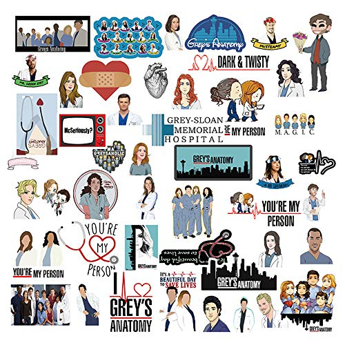 AnvFlik The Greys Anatomy Stickers Pack 50PCS, Sticker of The TV Show, Funny Laptop Stickers, Waterproof Hydro Flasks Sticker Vinyl Decal for Phone,Computer,Cars,Bicycles,Teen,Adult,Water Bottles