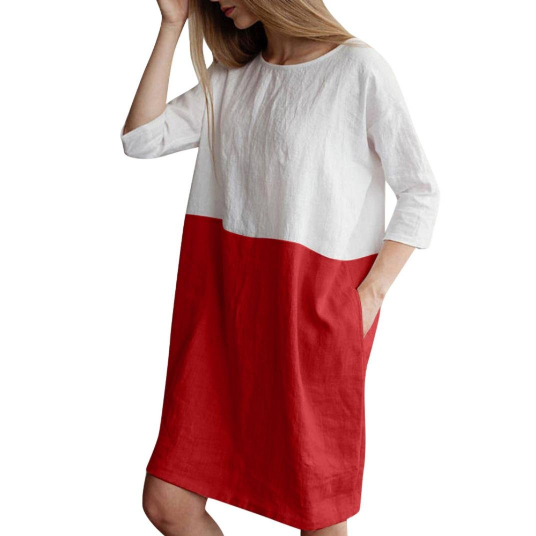 Women Tunic Dress,Vanvler Ladies Casual Patchwork 1/2 Sleeved Cotton Linen Loose Pockets Dress Oversize (XL, Red)