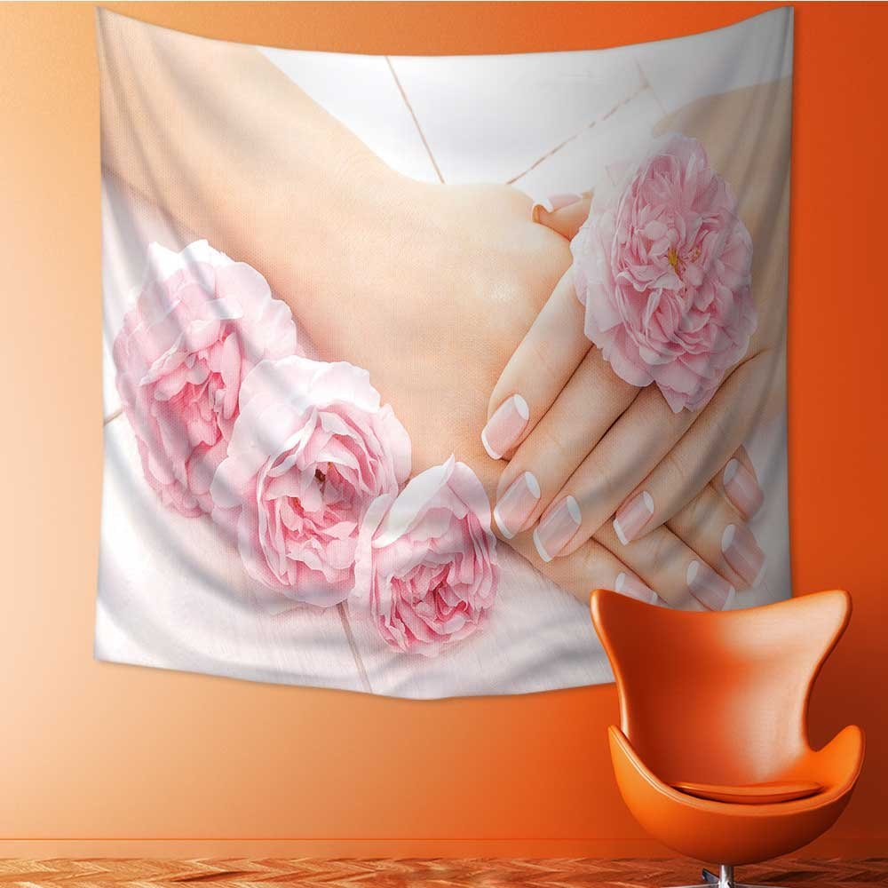Muyindo Wall Tapestry french manicure with rose flowers spa Room Dorm Accessories Wall Hanging Tapestry/27.5W x 27.5L INCH