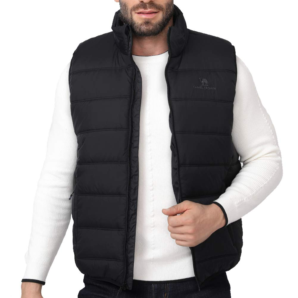 CAMEL CROWN Puffer Vest Men Quilted Winter Padded Sleeveless Jackets Gilet for Casual Work Travel Outdoor Black M by CAMEL CROWN