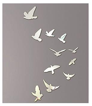 Kangrunmy 3D Oiseau Miroir Stickers Murale, 1 Set (11Pcs Inclus ...