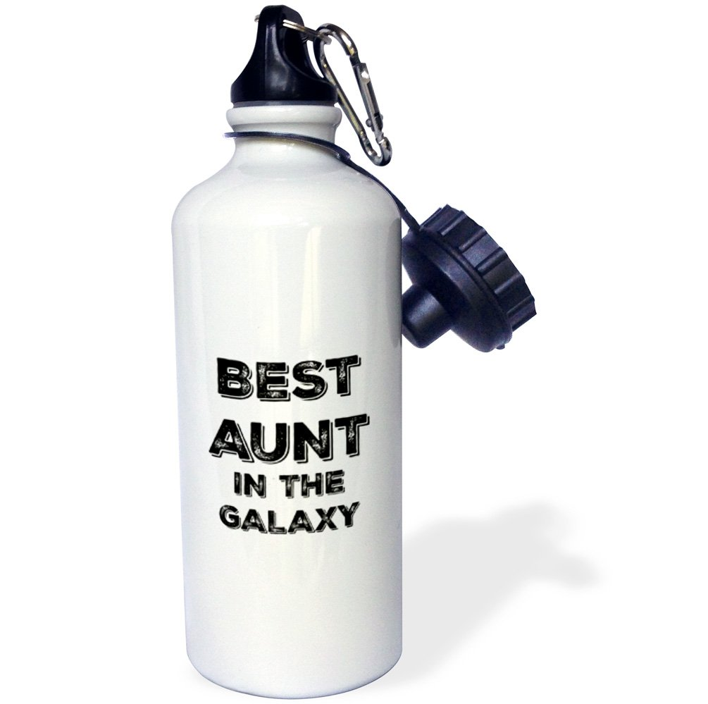 3dRose wb_224702_1 Best Aunt in The Galaxy Sports Water Bottle, 21 oz, White