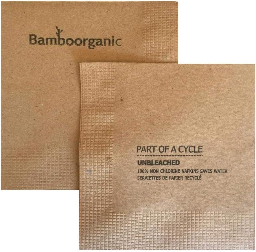 Kraft napkins disposable 100% compostable 100% PCW 4-Ply Brown (200 Napkins) …