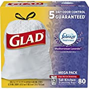 Glad OdorShield Tall Kitchen Drawstring Trash Bags - Febreze Mediterranean Lavender - 13 Gallon - 80 Count