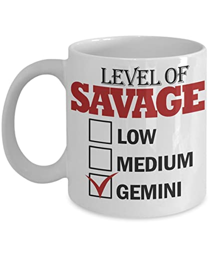Amazon Com Level Of Savage Gemini 11 Oz Ceramic White Coffee Mugs