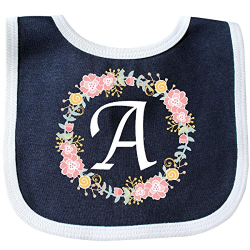 Inktastic - Letter A Rose Floral Wreath Monogram Baby Bib Navy/White 309ae (Baby Bib Initial)