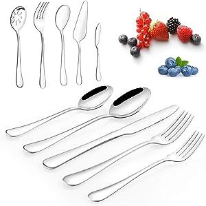 45-Piece Silverware Set, Superior Stainless Steel Flatware Set for 8, Cutlery Set, Mirror Polished, Dishwasher Safe