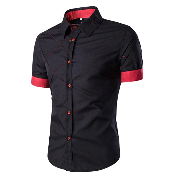 Thadensama Stylish Mens Casual Dress Shirts Bloe Short Sleeve Mens Striped Shirt Black Blue Red Heren Shirt Lang MOUW