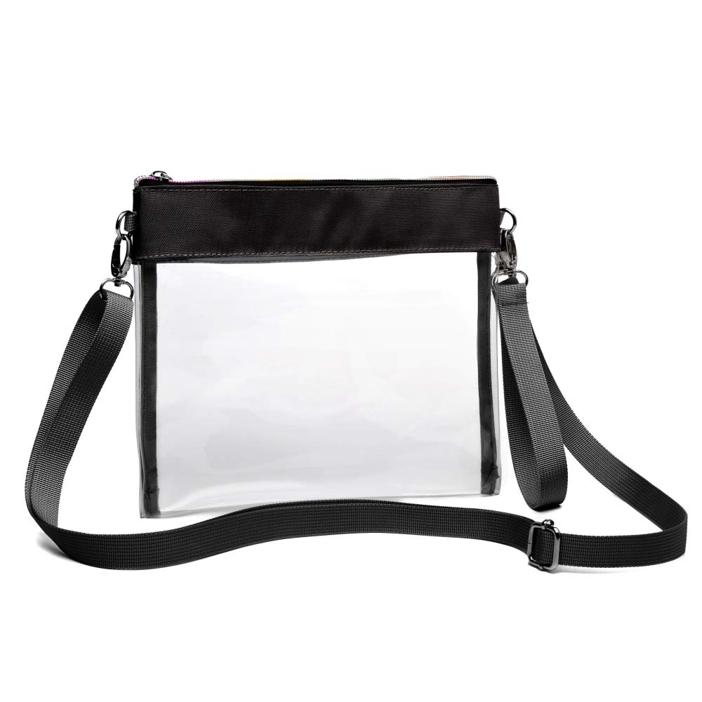 f76b84bc7733 Clear Crossbody Purse NFL Stadium Approved Clear Bag with Adjustable  Shoulder Strap and Wrist Strap for Work, School, Sports Games, Concerts