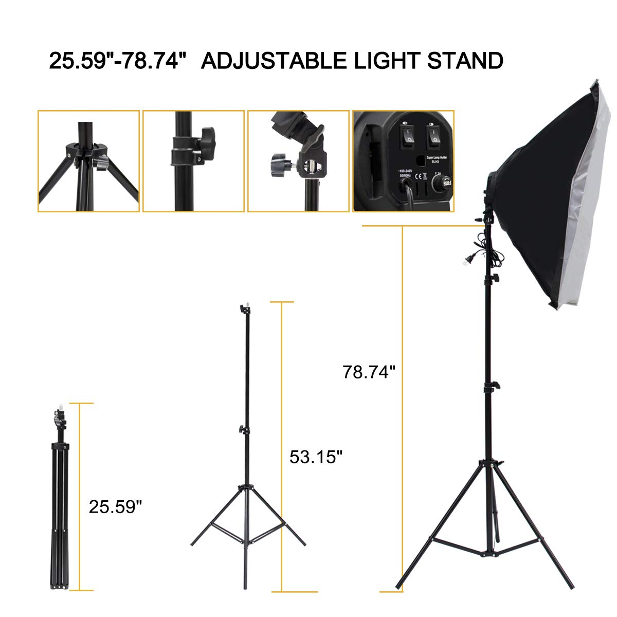 Wisamic Photography Video Studio Lighting Kit, Background Support System 10ft x 6.6ft/2MX3M with 3 Color Backdrop, 3 Umbrella, 3 Softbox, Continuous Lighting Kit for Photo Video Shooting Photography by Wisamic (Image #7)
