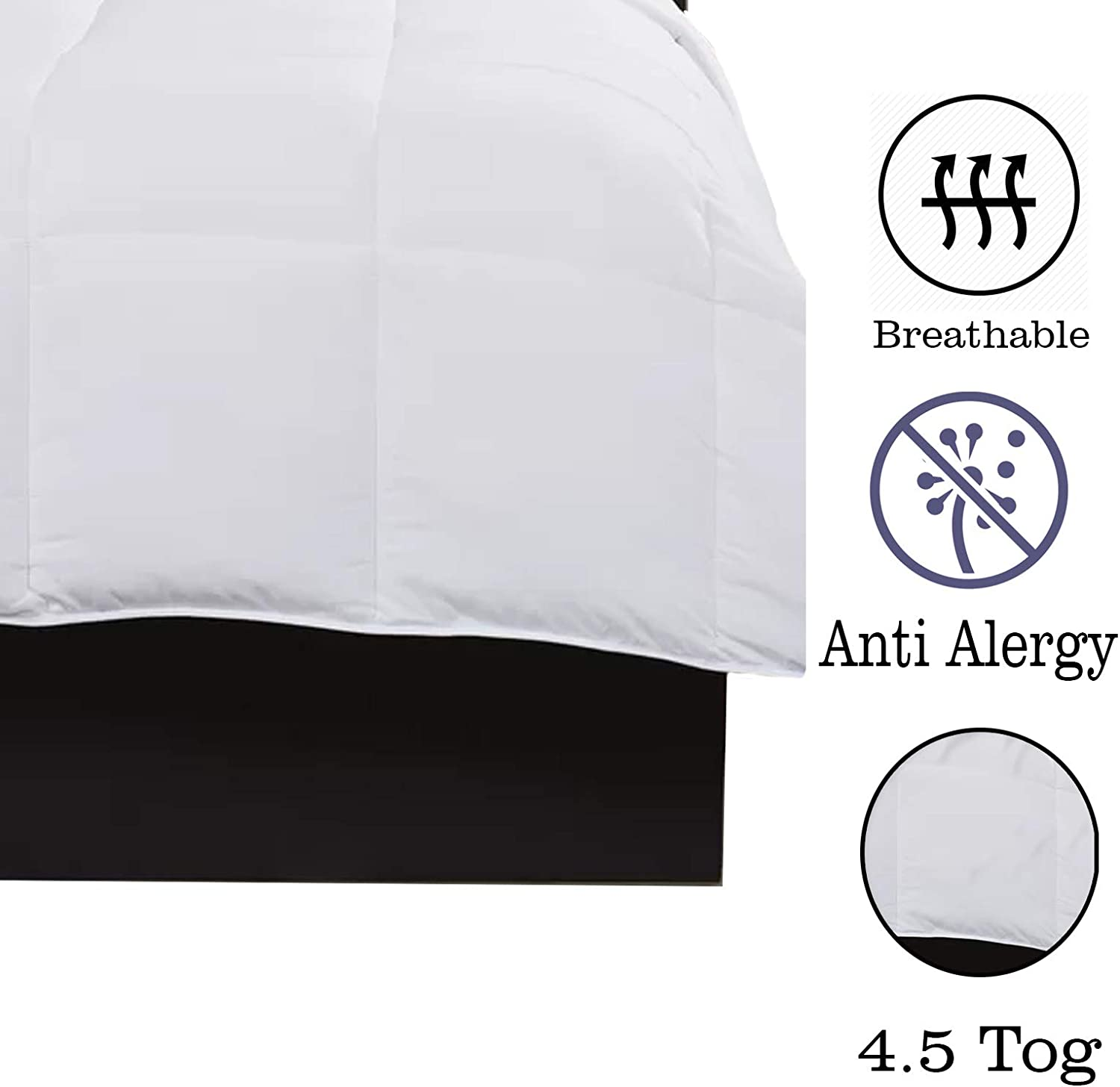 AMEHA Summer Duvet 4.5 Tog Anti Allergy Breathable Microfibre Box Stitch Mattress Protector Quilt Uk Made