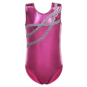 DAXIANG Brillant Rayure Forme de Chaîne Justaucorps Gymnastique Dance Ballet  Leotard pour Fille (Rose 1974217a56e