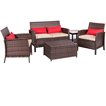 SUNCROWN Outdoor Patio Furniture 5-Piece Conversation Set All-Weather Thick, Durable Cushions Washable Covers Porch, Backyard, Pool Garden