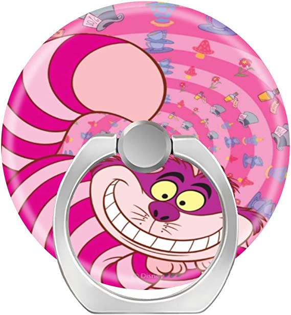 2 Pack Phone Grip Holder,Expanding Grip Socket for Cellphone,360 Rotation Pop Collapsible Grip and Stand for Phones and Tablets-Alice in Wonderland Cheshire Pink cat Smiling
