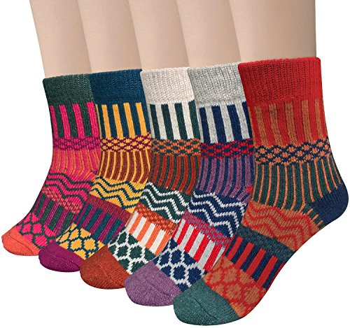 Things That Come In 5 (Loritta 5 Pairs Womens Vintage Style Winter Soft Warm Thick Knit Wool Crew Socks)
