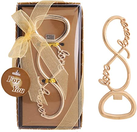 Wedding Favor for Guests,WeddParty 36pcs Love Forever Beer Bottle Opener with Tag and Exquisite Packaging for Bride Baby Shower,Birthday Gift Party Decorations Supplies Infinite love 36pcs Gold