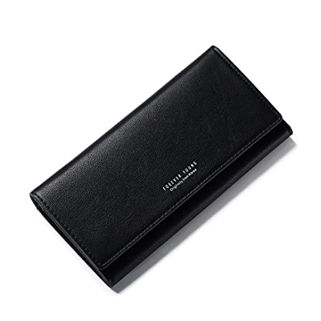 Leather Long Women Wallet Change Hasp Clasp Purse ClutchWallets Carteras Black