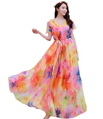 cd1ffae5681 Medeshe Chiffon Lightweight Sundress Boho Holiday Hawaii Beach Maxi Dress ( Length  115cm