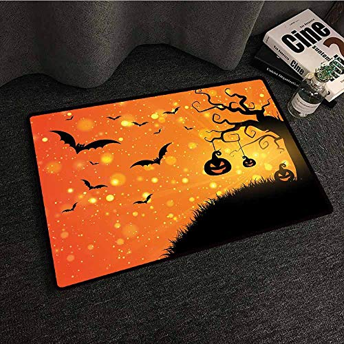 Non Slip Door Mat for Front Door Halloween,Magical Fantastic Evil Night Icons Swirled Branches Haunted Forest Hill,Orange Yellow Black,W31 xL47 Multi-Color Modern Area -
