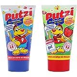 德国进口putzi儿童含氟牙膏可吞咽牙膏50ml 草莓1支+原味1支 (2-6岁适用)