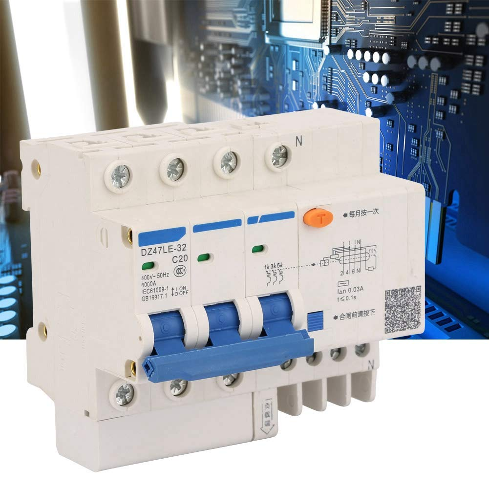 Disyuntor de corriente 3P N C20 Protecci/ón contra fugas Disyuntor de corriente 400V 20A