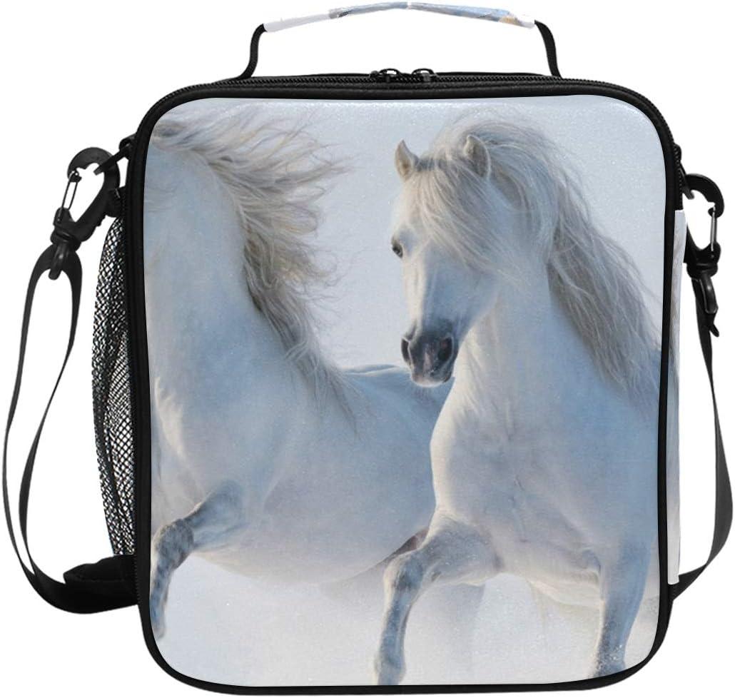 Bolsa de almuerzo con dos caballos de color blanco, aislada, cuadrada, portátil, gran capacidad, para viajes, picnic, escuela, bolsa de almuerzo para niños, niñas, niños, adolescentes