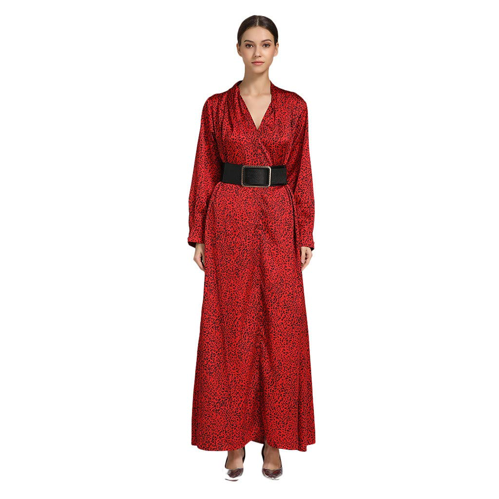 Tootu Women Muslim Long-Sleeve Print Arab Dress Islam Jilbab Party Long Dress Red