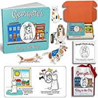 Georgette's Day In The City, Children's Dog Book and Coloring Book Gift Box Set with Tote Bag for Boys and Girls