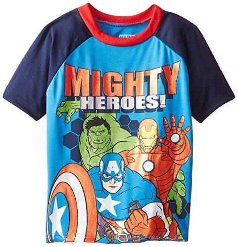 [Marvel Little Boys' Avengers Athletic T-Shirt, Blue, 4] (Avengers Superhero)