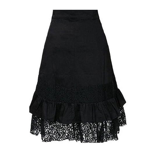 1eb75c0041 HCFKJ Faldas Mujer Cortas Ropa Steampunk para Mujer Club De Fiesta Use Punk  Gothic Retro Falda De Encaje Negro  Amazon.es  Ropa y accesorios