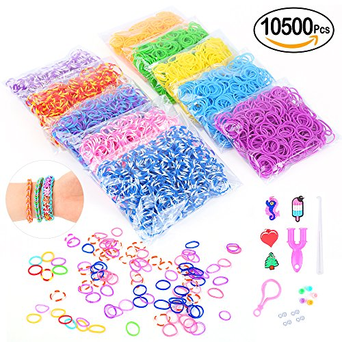 Loom Rubber Bands,10500pcs Complete Set Crafting Kit without Odor- 28 Colors Mega Refill Loom Bands Y Loom Charms Hooks S Clips Multicolored Beads Included for Kids Bracelet Weaving DIY Craft-by (Charm Colored Beads)