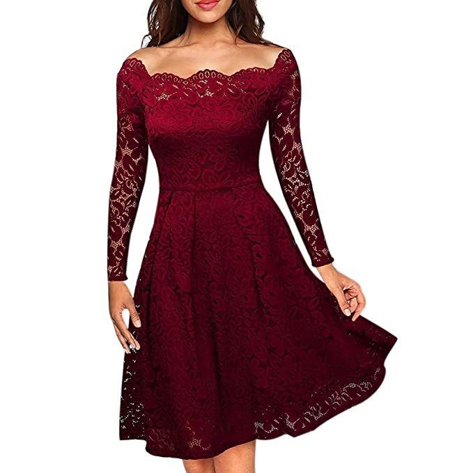cedb0e77a0cf EFINNY Women Floral Lace 40s 50s Swing Dress Vintage Long Sleeves Cocktail  Party Prom Dresses Black