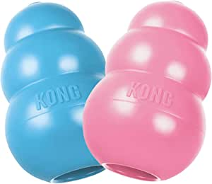 KONG - Puppy Toy - Natural Teething Rubber - Fun to Chew, Chase and Fetch (Colour May Vary) - for Medium Puppies