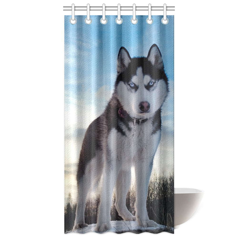 CTIGERS Animal Theme Shower Curtain Cute Husky Polyester Fabric Bathroom Decoration 36 x 72 Inch