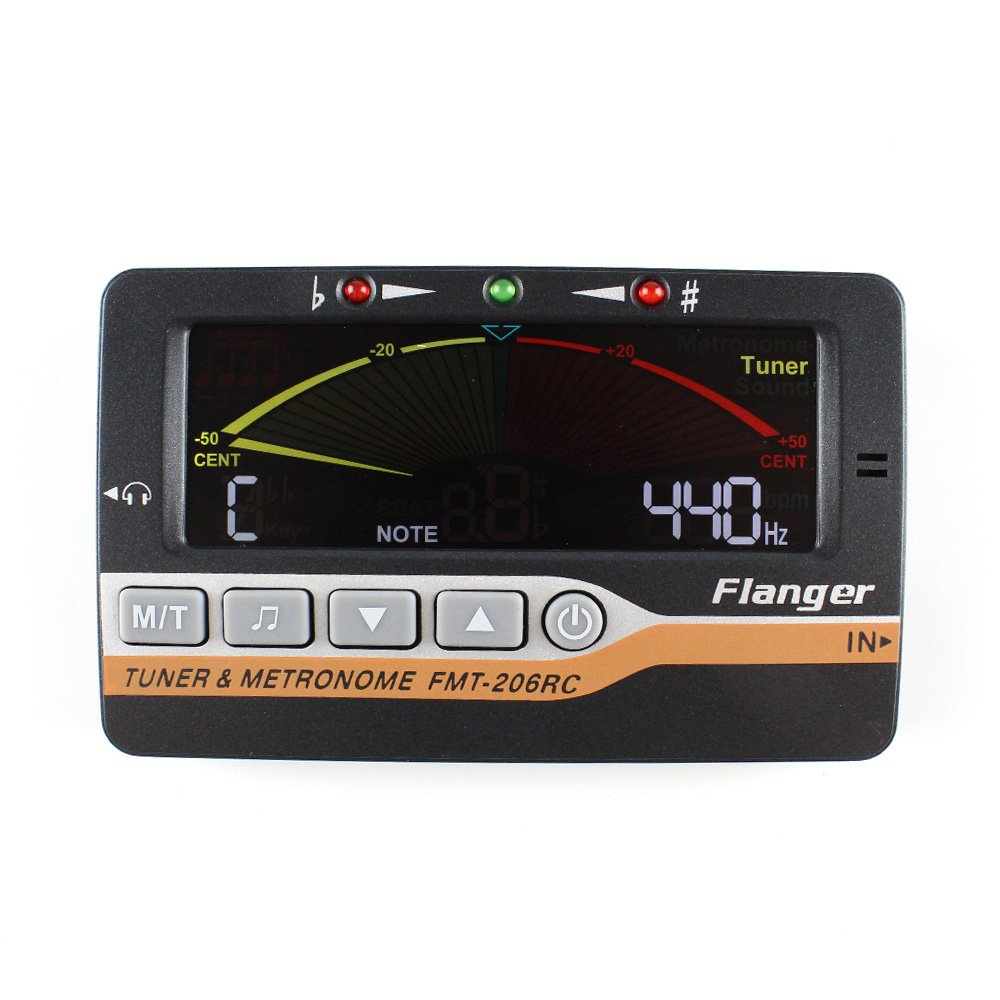 Instrument Tuner Metronome and Tone Generator 3 in 1 for All Instruments - with Guitar, Bass, Violin, Ukulele, and Chromatic Tuning Modes - Pickup Included, Black