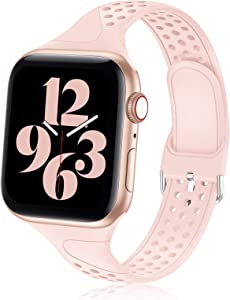 Bandiction Compatible for Apple Watch Bands 38mm 40mm, Soft Silicone Sport Bands Women Men Breathable Replacement Wrist Strap Compatible for iWatch Series 6/SE/5/4/3/2/1, Sport Edition, Pink Sand