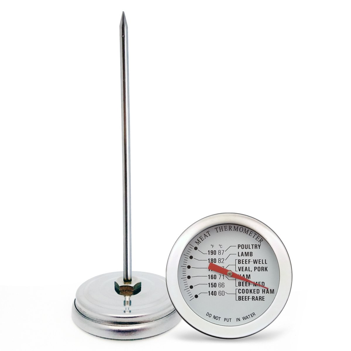 KT THERMO Candy/Deep Fry Thermometer 2-Inch Dial Instant Read Stainless Steel Thermometers with Clip 12-Inch Long Stem Classic