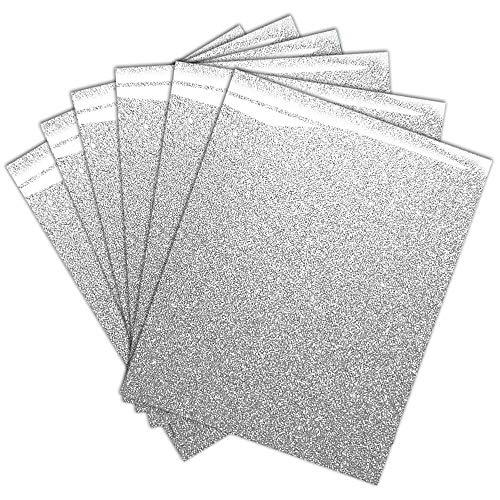 Silver Glitter HTV Heat Transfer Vinyl Bundle for T-Shirt 12 X 9.8 (Pack of 6)
