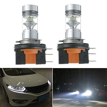 Bombillas LED H15 100W Luz de niebla de luz de cruce Luz de circulación diurna para coche (luz blanca): Amazon.es: Coche y moto