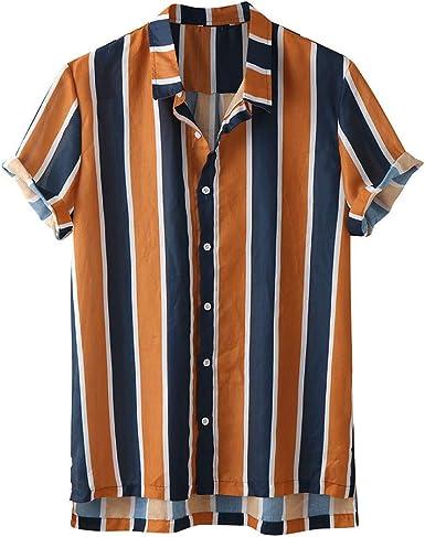 ACEBABY Camisa Hawaiana Hombre Moda Original Camisa Manga Corta Estampada a Rayas Casual Adecuado para Vacaciones de Verano en la Playa Fiesta: Amazon.es: Ropa y accesorios