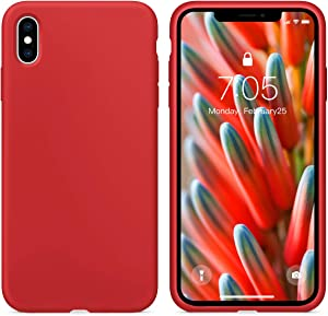 OUXUL Case for iPhone X/iPhone Xs case Liquid Silicone Gel Rubber Phone Case, iPhone X/iPhone Xs 5.8 Inch Shockproof Full Body Slim Soft Microfiber Lining Protective Case(RED)