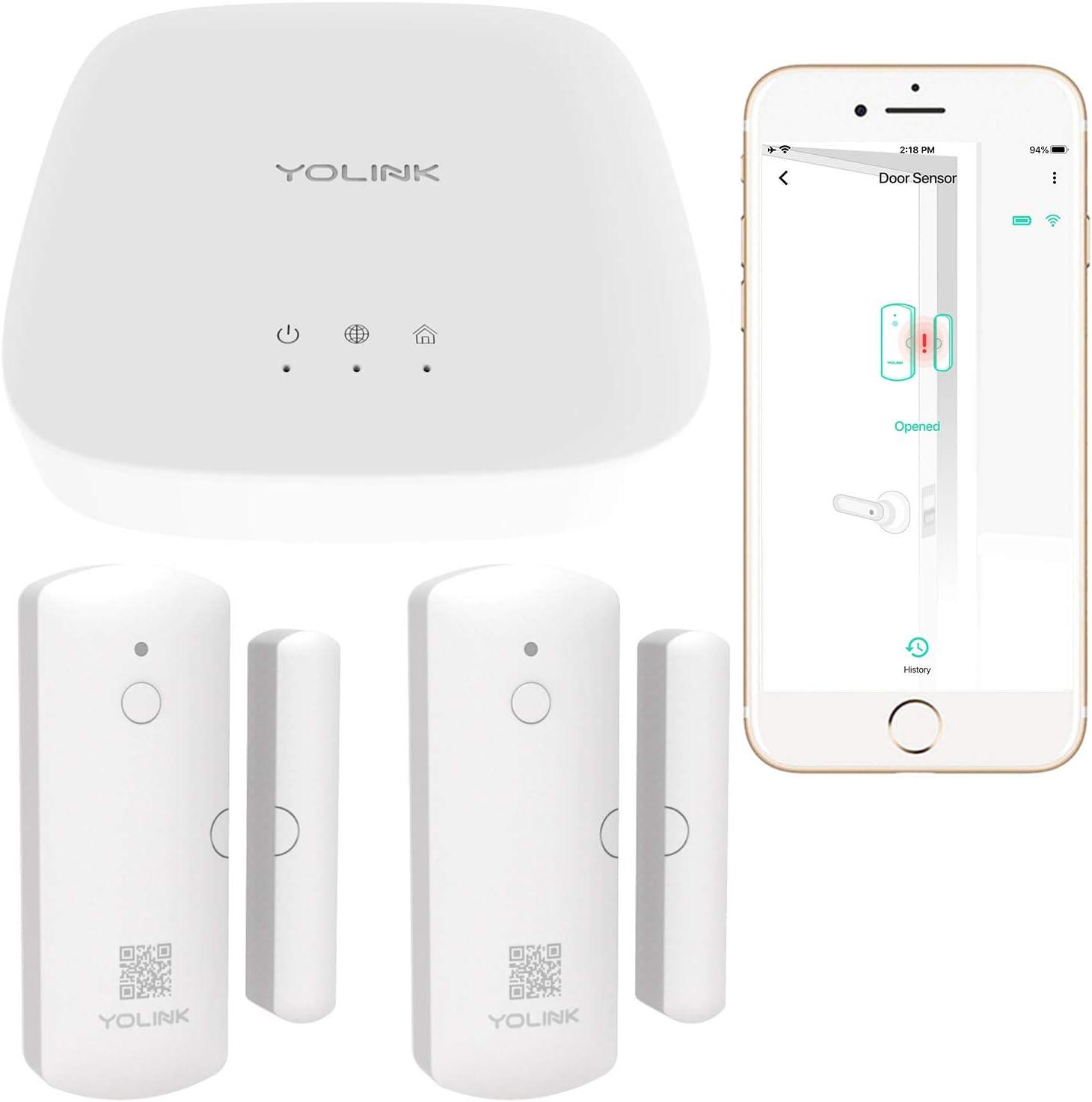Smart Door Sensors, 1/4 Mile World's Longest Range Wireless Window Door Sensor Work with Alexa Google Assistant IFTTT, APP Alerts Open Reminder Smart Home Security Kit, 2 Pack, YoLink Hub Included