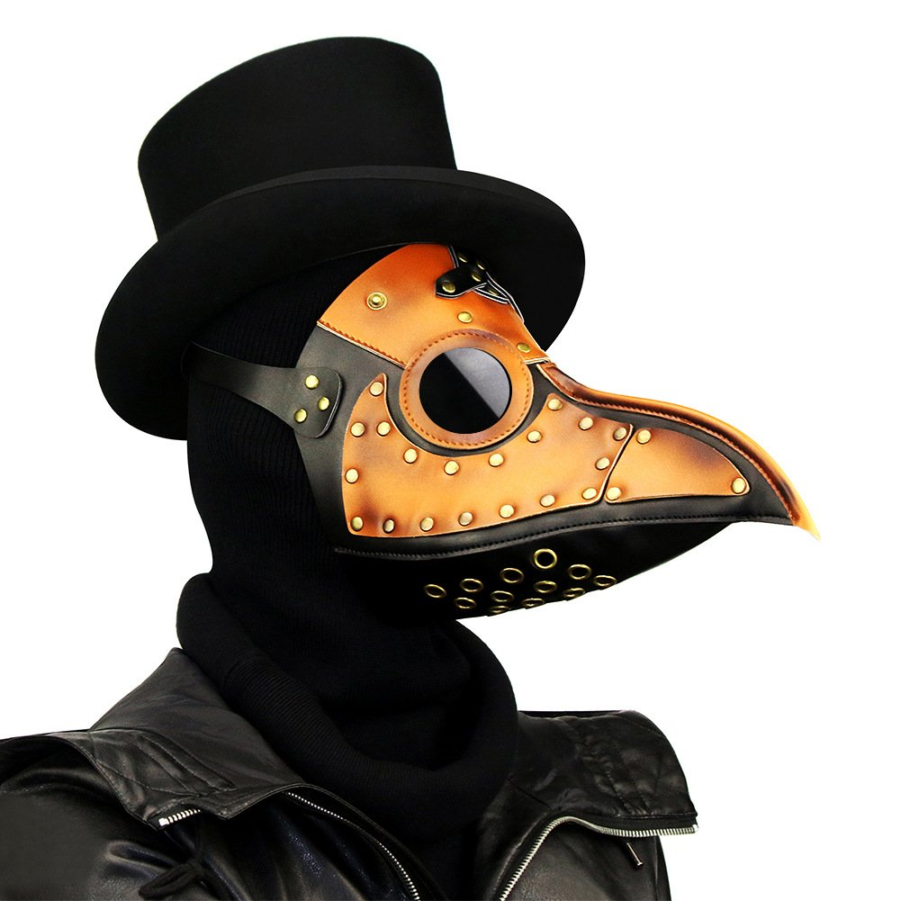 Halloween Party Costumes Punk Mask Cosplay Prop Metal(Brown)