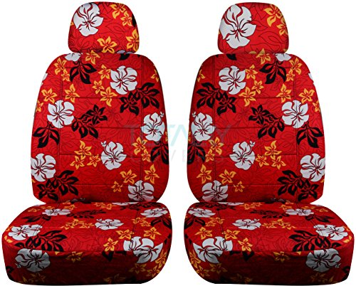 Hawaiian Print Car Seat Covers w 2 Separate Headrest Covers: Red w Flowers - Semi-Custom Fit - Front - Will Make Fit Any Car/Truck/Van/SUV (6 Prints)