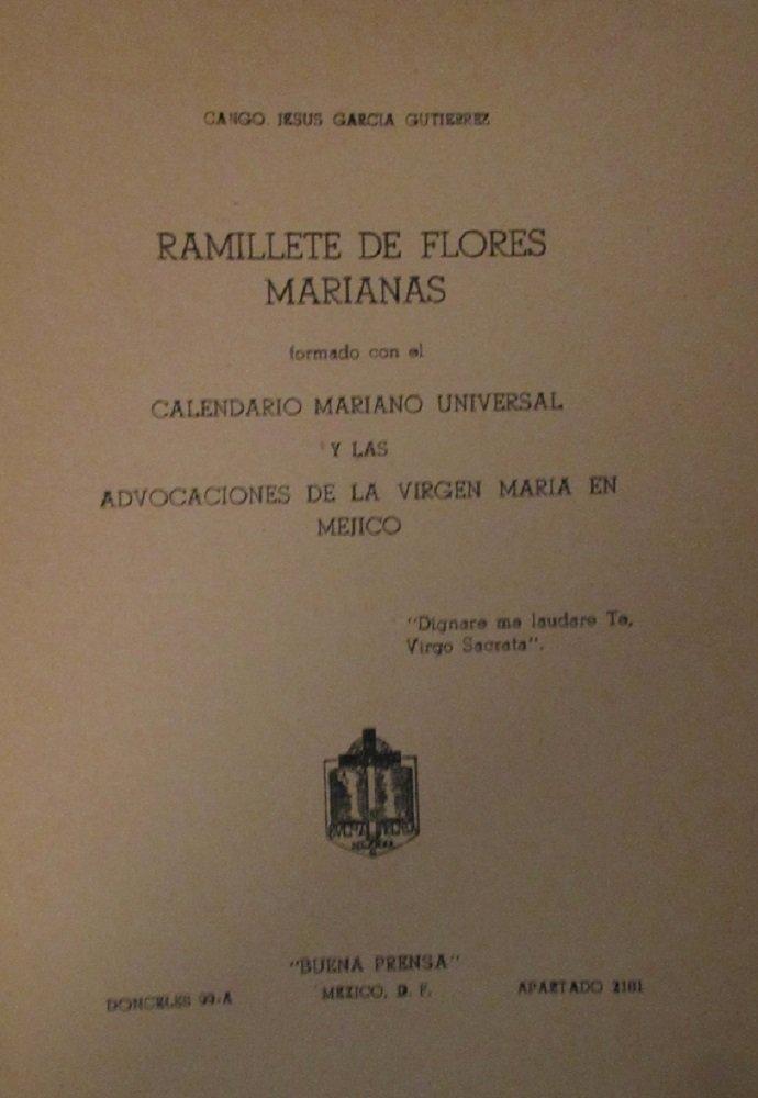 Calendario Mariano.Ramillete De Flores Marianas Formado Con El Calendario