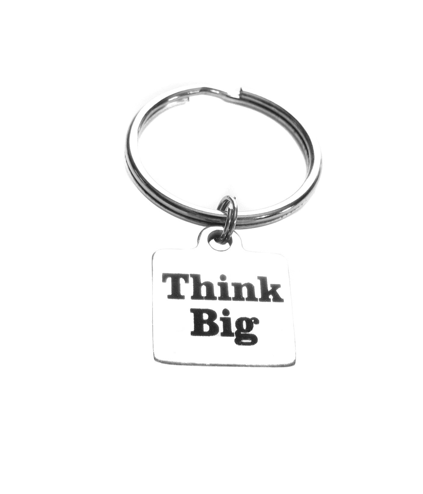 Think Big Stainless Steel Square Charm Keychain, Luggage Inspirational Gift